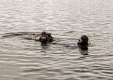 Akwalungu pikowanie w halnym jeziorze, ćwiczy techniki dla przeciwawaryjnych ratowników immersja w zimnej wodzie zdjęcie royalty free