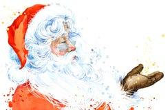 Akwarela Święty Mikołaj Święty Mikołaj bożych narodzeń tło przeszłość nowego roku ilustracja wektor