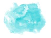 akwarela Abstrakcjonistyczny błękitny punkt na białym akwarela papierze Fotografia Stock