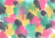 akwarela abstrakcyjna tło Żywy akwareli tło z ciekawić plamy kolor żółty, menchie, zieleń i czerń, malujemy ilustracja wektor