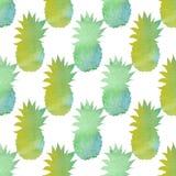 Akwarela ananasowy bezszwowy wzór Abstrakcjonistyczna ręka rysujący watercolour tło Zdjęcie Royalty Free