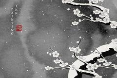 Akwarela atramentu farby sztuki wektorowej tekstury ilustracyjny śliwkowy okwitnięcie w śnieżnym zima dniu Przekład dla Chińskieg royalty ilustracja