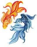 Akwarela azjata goldfishes royalty ilustracja