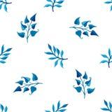 Akwarela błękitny bezszwowy wzór Obrazy Stock