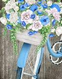 Akwarela błękitny bicykl, kwiatu kosz i royalty ilustracja