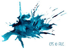 Akwarela Błękitny kleks Zdjęcie Royalty Free