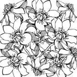 Akwarela błękitny kwiat bezszwowy wzoru ilustracji