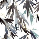 Akwarela bambusa liście Zdjęcia Stock