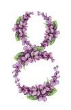 Akwarela bez 8 liczb odizolowywających na bielu Zdjęcia Royalty Free
