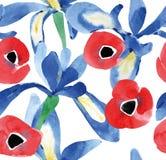 Akwarela bezszwowi kwiaty royalty ilustracja