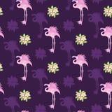 Akwarela bezszwowi, tropikalni kwiaty tropikalni deseniowi, różowią flamingi i różowią ilustracji