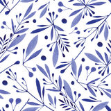 Akwarela bezszwowy botaniczny wzór Monochromatyczni kwiaty, liście, ziele tło royalty ilustracja