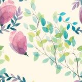Akwarela bezszwowy kwiecisty wzór Kwitnie teksturę Zdjęcie Royalty Free