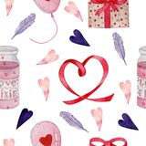 Akwarela bezszwowy wzór dla valentines dnia royalty ilustracja