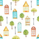 Akwarela bezszwowy wzór, domy, drzewa, światła