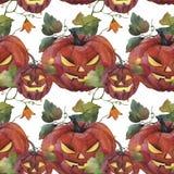 Akwarela bezszwowy wzór halloween ilustracyjna księżyc noc Straszna pompa royalty ilustracja