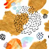 Akwarela bezszwowy wzór, kropki Memphis mody styl, jaskrawego projekta wielostrzałowy tło Ręka malujący nowożytny muśnięcie ilustracja wektor
