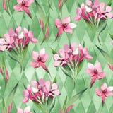 Akwarela bezszwowy wzór menchia kwiaty i zieleń liście Zdjęcie Royalty Free