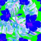 Akwarela bezszwowy wzór Ręka Malująca ilustracja Tropikalni liście i kwiaty Zwrotnika lata motyw z poślubnika wzorem Zdjęcia Royalty Free