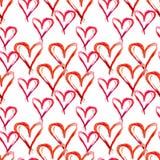 Akwarela bezszwowy wzór Ręki rysujący czerwoni serca dla Valentin Zdjęcia Stock