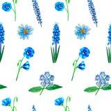 Akwarela bezszwowy wzór z błękitnymi kwiatami, aster, lupine, muscari, heliotrop, len, odizolowywający ilustracja wektor