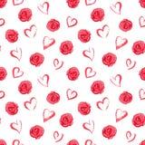 Akwarela bezszwowy wzór z czerwonymi różami i sercami Zdjęcie Stock