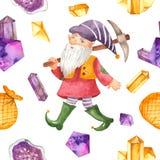 Akwarela bezszwowy wzór z gnomem, oskard, torba, kryształy obrazy royalty free