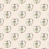 Akwarela bezszwowy wzór z jabłkami Ręka rysujący projekt Lato owoc ilustracja Fotografia Stock