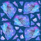 Akwarela bezszwowy wzór z jellyfish na ciemnym tle ilustracji