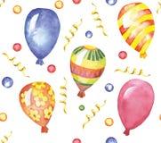 Akwarela bezszwowy wzór z kolorową balonu ścinku ścieżką Zdjęcia Stock