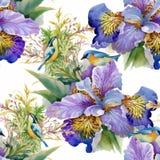 Akwarela bezszwowy wzór z kolorowymi kwiatami i liśćmi na białym tle, akwarela kwiecisty wzór, kwitnie wewnątrz ilustracji