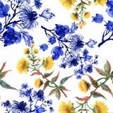 Akwarela bezszwowy wzór z kolorowymi kwiatami i liśćmi na białym tle, akwarela kwiecisty wzór, kwitnie wewnątrz Obraz Royalty Free