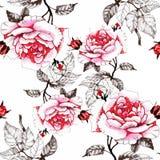 Akwarela bezszwowy wzór z kolorowymi kwiatami i liśćmi na białym tle, akwarela kwiecisty wzór, kwitnie wewnątrz Fotografia Stock