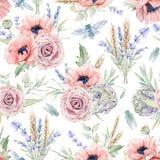 Akwarela bezszwowy wzór z kwiatami ilustracji
