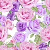 Akwarela bezszwowy wzór z kwiatami Zdjęcia Stock