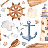 Akwarela bezszwowy wzór z latarnią morską, paddle, łódź royalty ilustracja