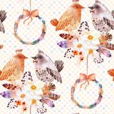 Akwarela bezszwowy wzór z piórkami, anemonów bukietami i ptakami, Obrazy Stock