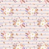 Akwarela bezszwowy wzór z piórkami i anemonów bukietami na pasiastym tle Fotografia Royalty Free
