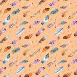 Akwarela bezszwowy wzór z piórkami na brzoskwinia koloru tle Obraz Stock