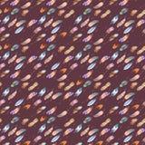 Akwarela bezszwowy wzór z piórkami na ciemnego brązu tle Zdjęcie Stock