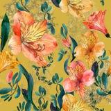 Akwarela bezszwowy wzór z pomarańcze, czerwień kwiatami i liśćmi na żółtym tle, Zdjęcia Stock