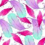 Akwarela bezszwowy wzór z ptasimi piórkami Obraz Stock