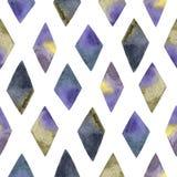 Akwarela bezszwowy wzór z ręcznie malowany textured rhombus ilustracji
