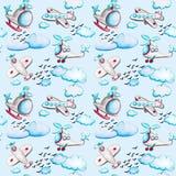 Akwarela bezszwowy wzór z samolotami, helikoptery, chmury i ptaki, royalty ilustracja