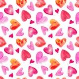Akwarela bezszwowy wzór z sercami dla valentines dnia Obrazy Royalty Free