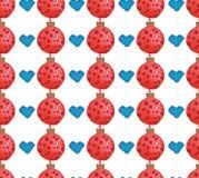 Akwarela bezszwowy wzór z sercami i piłkami Zima nowego roku temat Bożenarodzeniowa tkanina i papier ilustracja wektor