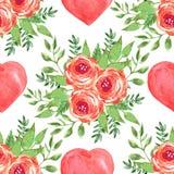 Akwarela bezszwowy wzór z sercami i różami Fotografia Royalty Free