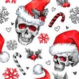 Akwarela bezszwowy wzór z szkicowymi czaszkami w Santa kapeluszu, snowfalkes, opuszcza Cretive nowy rok Świętowanie ilustracji