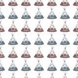 Akwarela bezszwowy wzór z teepee na ilustracji