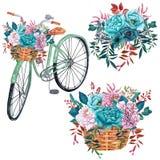 Akwarela bicykl z bukietami cyraneczka kwiaty odizolowywający na białym tle zdjęcie stock